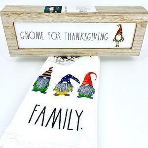 3pc Rae Dunn GNOME FOR THANKSGIVING Sign + 2 towel